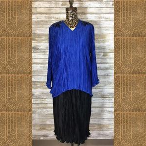 Vintage Karen Lawrence Blue/Black Sequin Dress 16